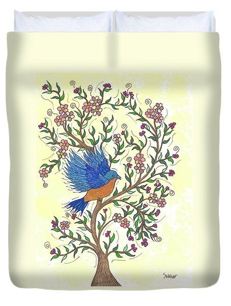 In The Garden - Bluebird Duvet Cover by Susie WEBER