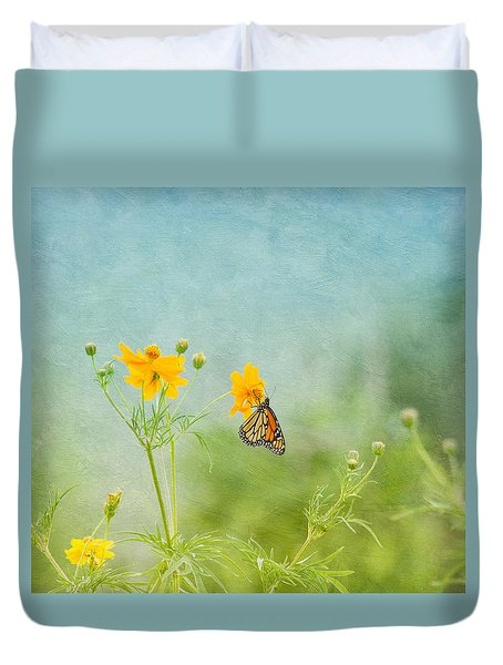 In The Garden - Monarch Butterfly Duvet Cover by Kim Hojnacki