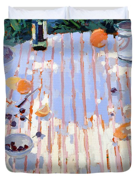 In The Garden Table With Oranges  Duvet Cover by Sarah Butterfield