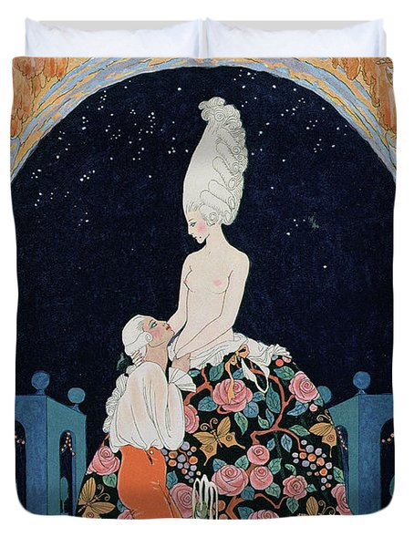 In The Grotto Duvet Cover by Georges Barbier