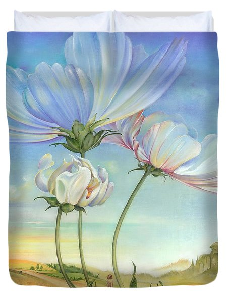 In The Half-shadow Of Wild Flowers Duvet Cover