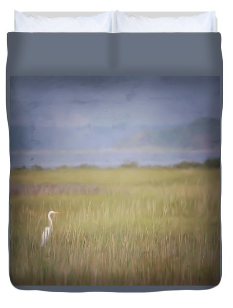 In The Marsh  Duvet Cover by Kerri Farley