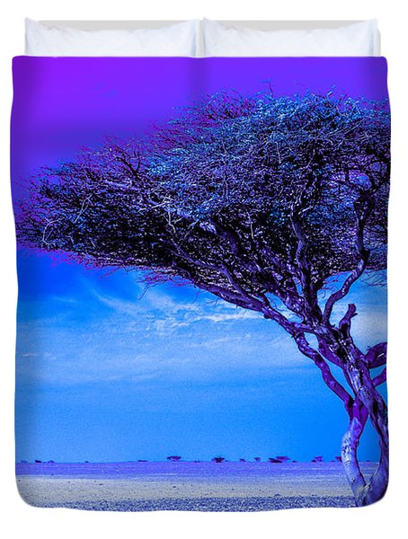 In The Middle Of Nowhere Under A Purple Sky Duvet Cover by Julis Simo