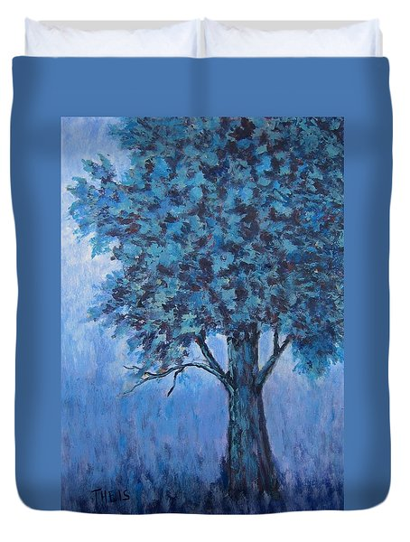 Duvet Cover featuring the painting In The Mist by Suzanne Theis