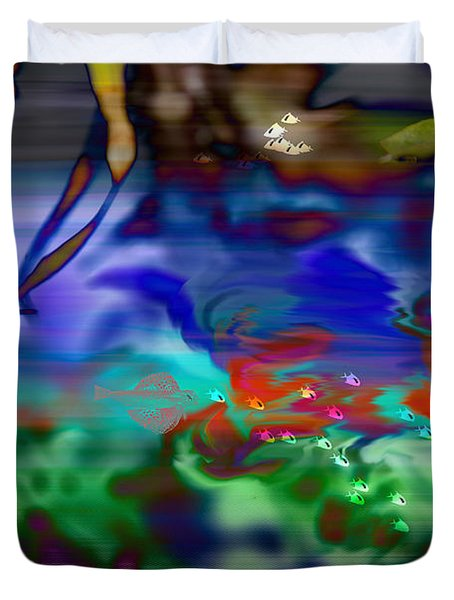 Duvet Cover featuring the painting In The Sea by Ericamaxine Price