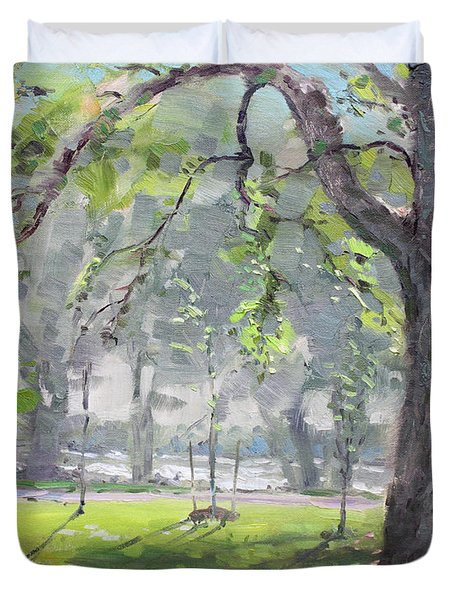 In The Shade Of The Big Tree Duvet Cover by Ylli Haruni