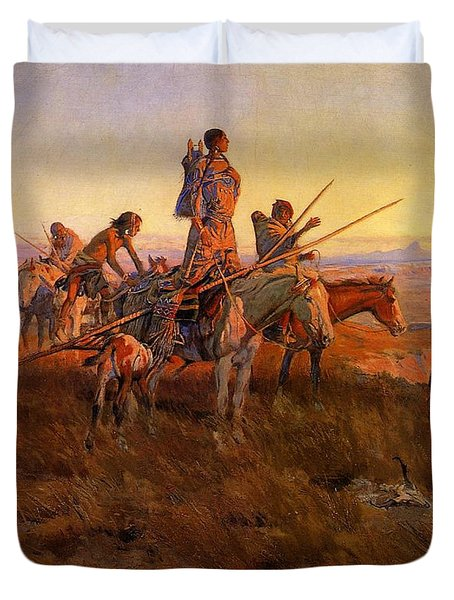 In The Wake Of The Buffalo Hunters Duvet Cover by Charles Russell