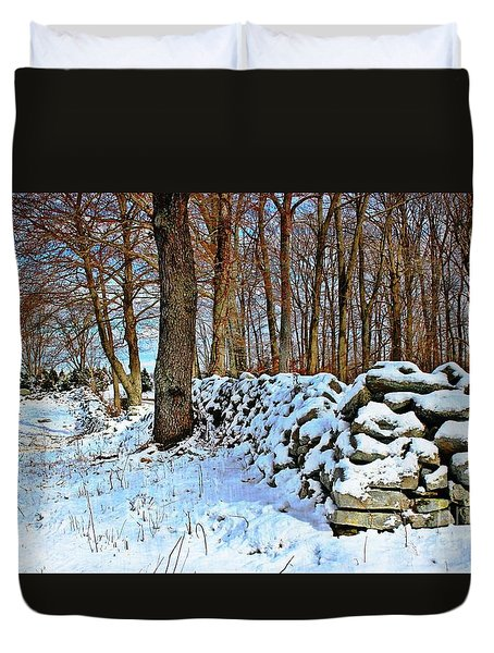 Duvet Cover featuring the photograph In The Woods by Judy Palkimas