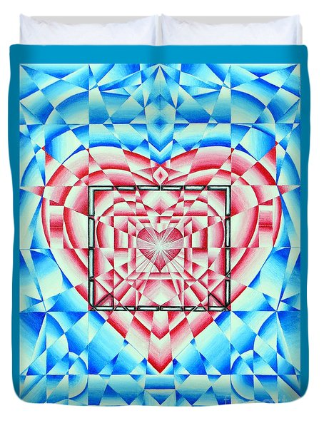 Duvet Cover featuring the painting In Your Heart Of Hearts by Joseph J Stevens