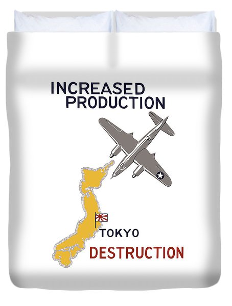 Increased Production - Tokyo Destruction Duvet Cover by War Is Hell Store