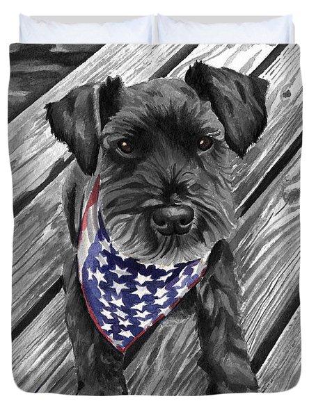 Watercolor Schnauzer Black Dog Duvet Cover
