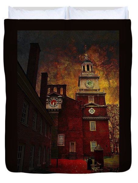 Independence Hall Philadelphia Let Freedom Ring Duvet Cover