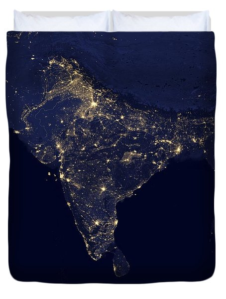 India At Night Satellite Image Duvet Cover by Nasa
