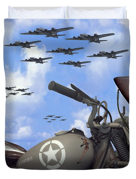 Indian 841 And The B-17 Bomber Sq Duvet Cover
