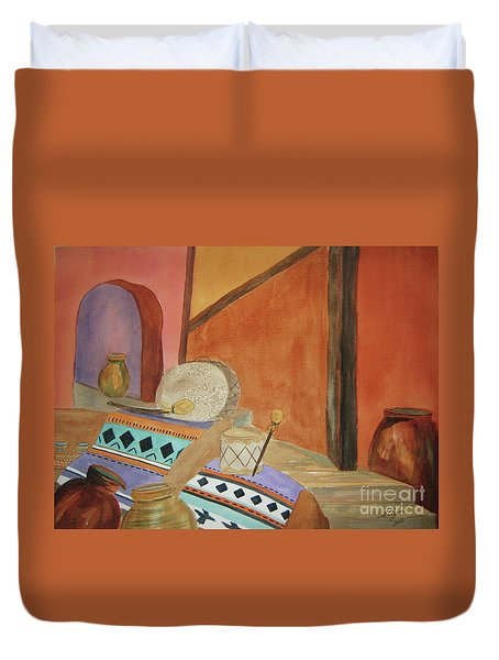 Duvet Cover featuring the painting Indian Blankets Jars And Drums by Ellen Levinson