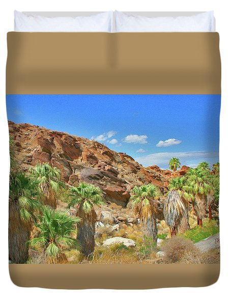 Indian Canyons View In Palm Springs Duvet Cover by Ben and Raisa Gertsberg