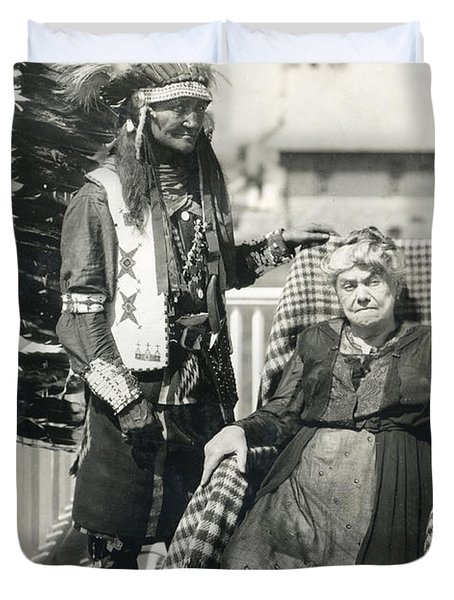 Duvet Cover featuring the photograph Indian Chief And Woman by Charles Beeler