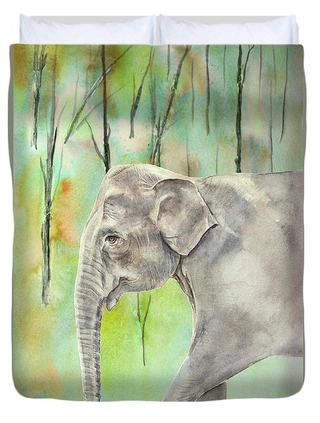 Indian Elephant Duvet Cover by Elizabeth Lock