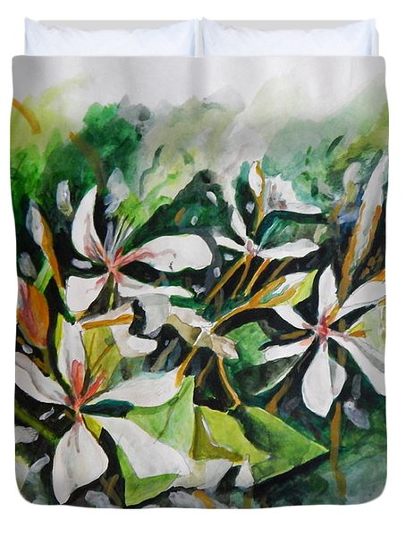 Duvet Cover featuring the painting New Orleans Indian Hawthorne by Michael Hoard