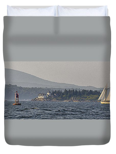 Duvet Cover featuring the photograph Indian Island Lighthouse - Rockport - Maine by Marty Saccone