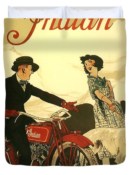 Indian Motorcycle Poster Duvet Cover