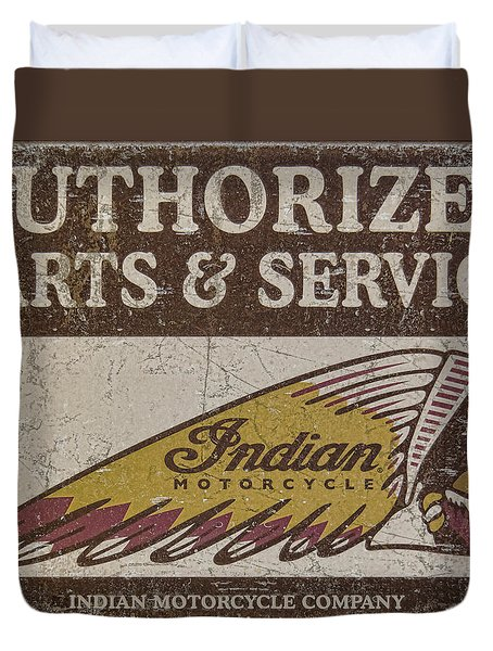 Indian Motorcycle Sign Duvet Cover