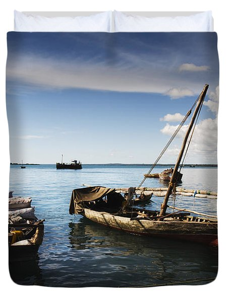 Indian Ocean Dhow At Stone Town Port Duvet Cover by Amyn Nasser