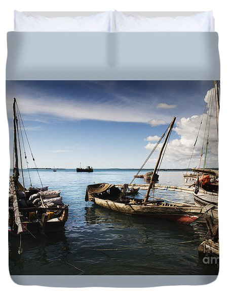 Indian Ocean Dhow At Stone Town Port Duvet Cover