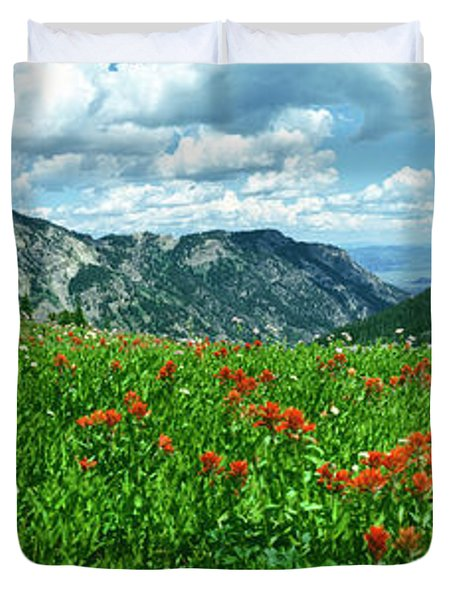 Indian Paintbrush Flowers In A Meadow Duvet Cover