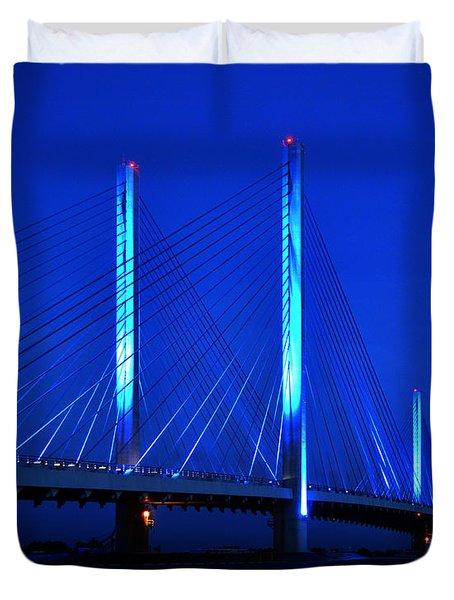 Indian River Bridge At Night Duvet Cover