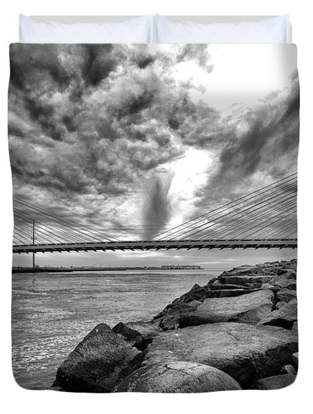 Indian River Bridge Clouds Black And White Duvet Cover