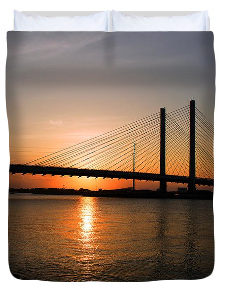 Indian River Bridge Sunset Reflections Duvet Cover