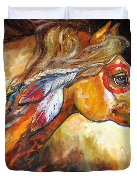 Indian War Horse Golden Sun Duvet Cover