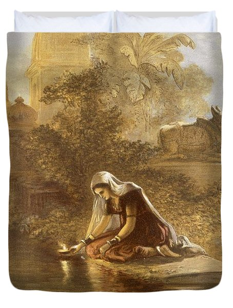 Indian Woman Floating Lamps Duvet Cover by William 'Crimea' Simpson