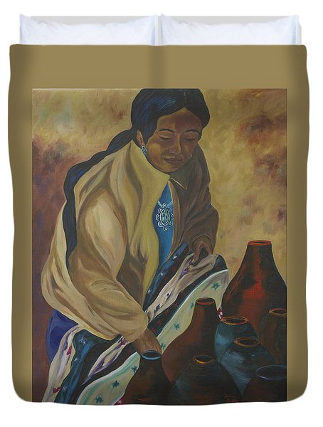 Indian Woman Potter Duvet Cover