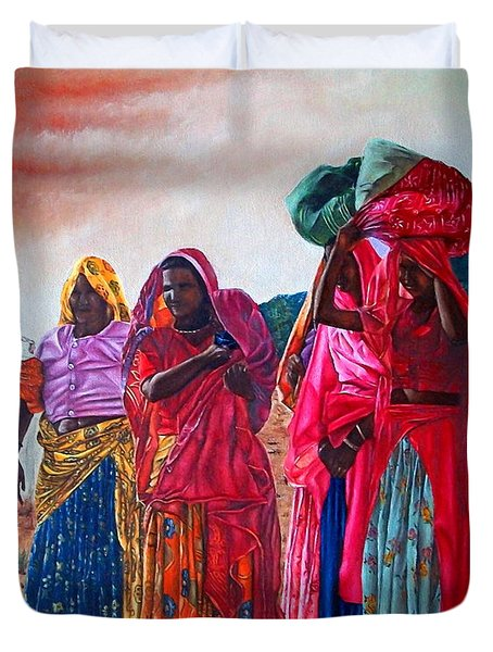 Indian Women Duvet Cover