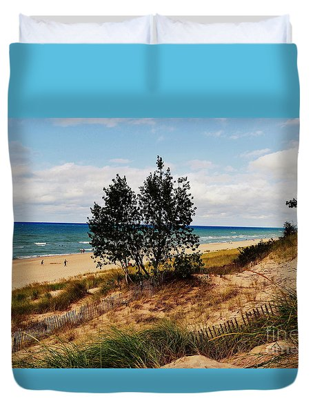 Indiana Dunes Two Tree Beachscape Duvet Cover