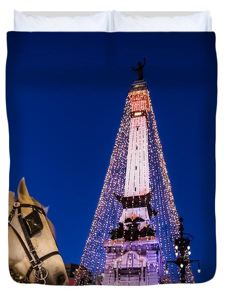 Indiana - Monument Circle With Lights And Horse Duvet Cover