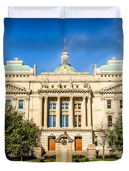 Indiana Statehouse State Capital Building Picture Duvet Cover by Paul Velgos