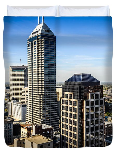 Indianapolis Aerial Picture Of Downtown Office Buildings Duvet Cover by Paul Velgos