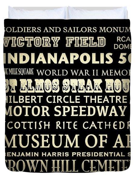 Indianapolis Famous Landmarks Duvet Cover