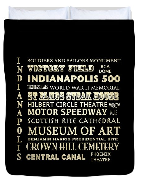 Indianapolis Famous Landmarks Duvet Cover
