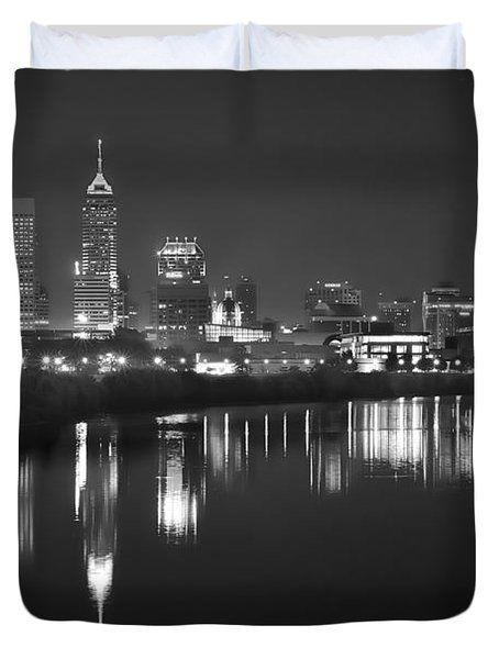 Indianapolis Skyline At Night Indy Downtown Black And White Bw Panorama Duvet Cover by Jon Holiday