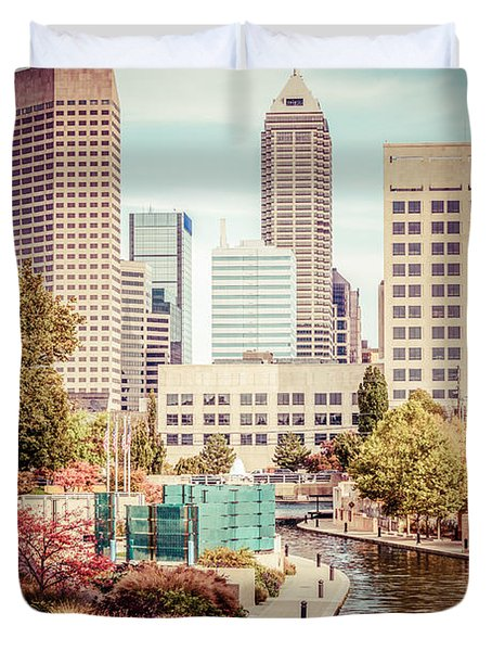 Indianapolis Skyline Old Retro Picture Duvet Cover by Paul Velgos