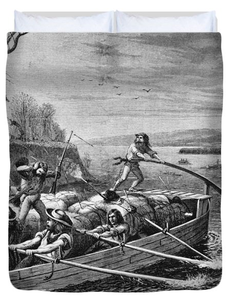 Indians Attacking Fur Traders Duvet Cover