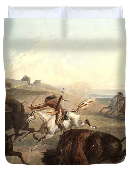 Indians Hunting The Bison Duvet Cover by Karl Bodmer