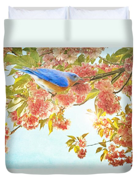 Duvet Cover featuring the photograph Indigo Bluebird On Pink Flowering Tree Branch  by Brooke T Ryan