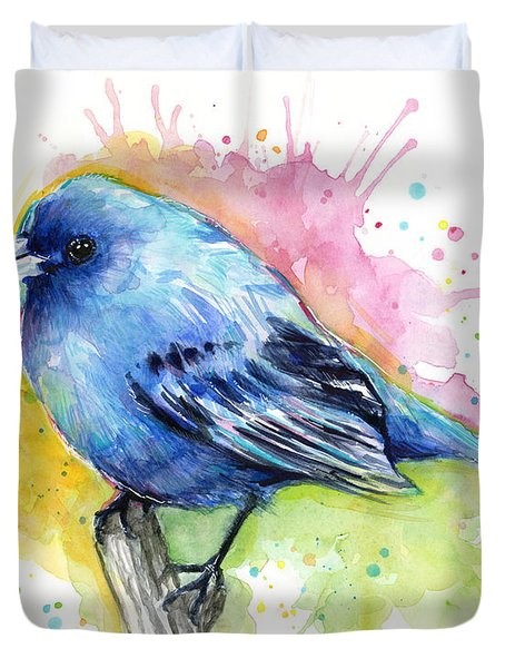 Indigo Bunting Blue Bird Watercolor Duvet Cover