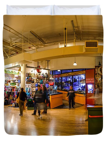 Indoor Panorama Of Pike Place Market Duvet Cover