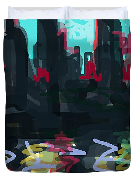 Industrial City On A River  Duvet Cover by Paul Sutcliffe